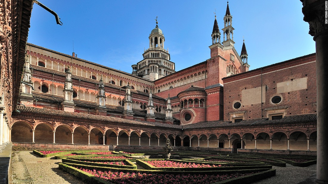 The lavish Certosa of Pavia, today a monastery, was the mighty Visconti family's mausoleum.