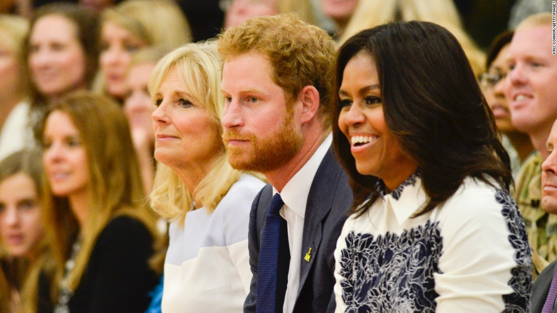 Jill Biden, Prince Harry and Michelle Obama at the Joining Forces Invictus Games 2016 Event at the Wells Fields House on October 28, 2015, in Fort Belvoir, Va.