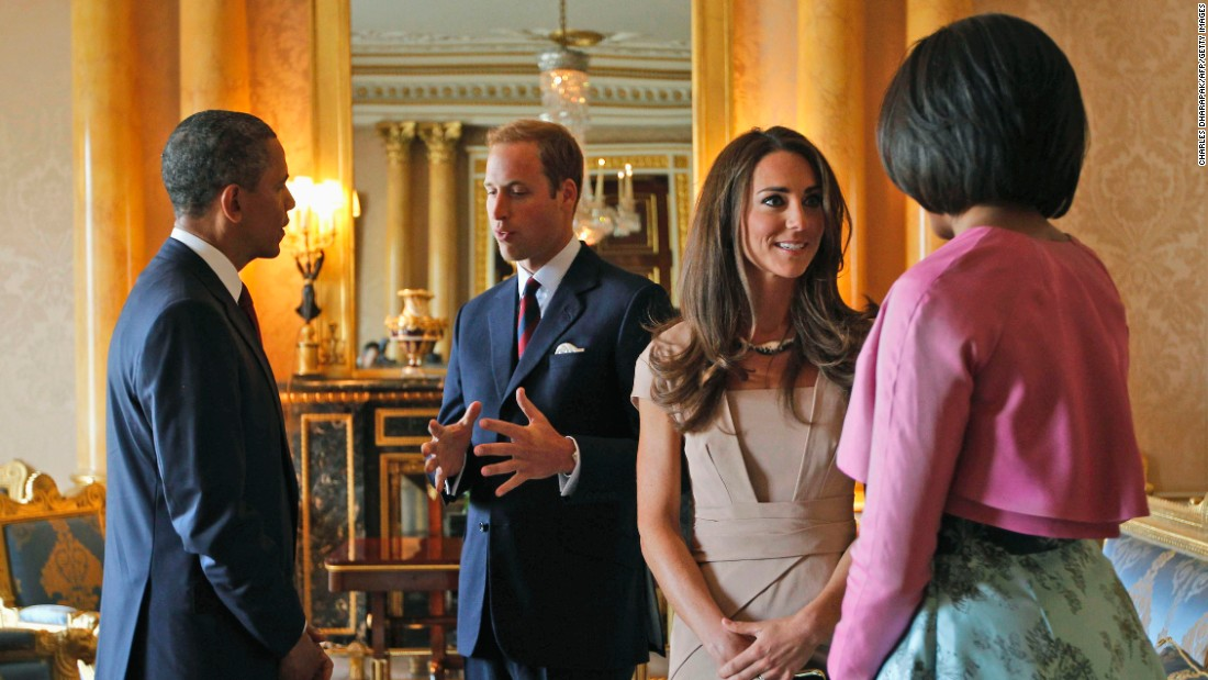 The President, the first lady and the Duke and Duchess of Cambridge meet in London's Buckingham Palace on May 24, 2011.