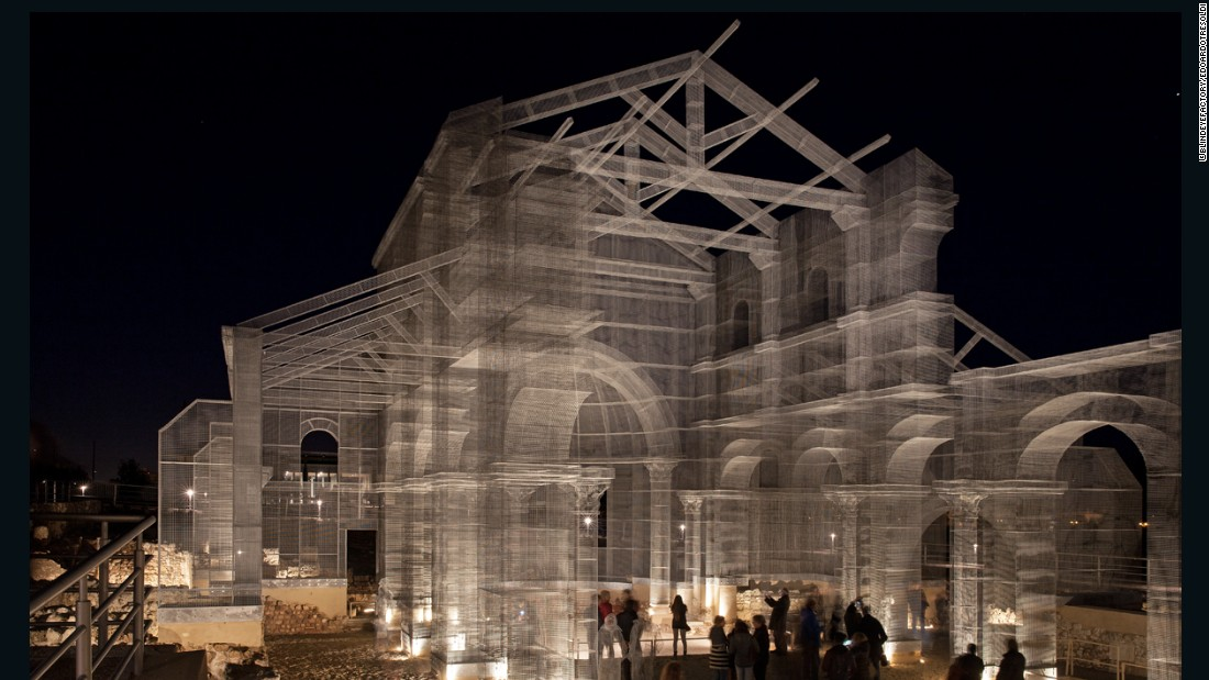 The artist's transparent basilica is exactly the same size as the original that stood in its place centuries before.