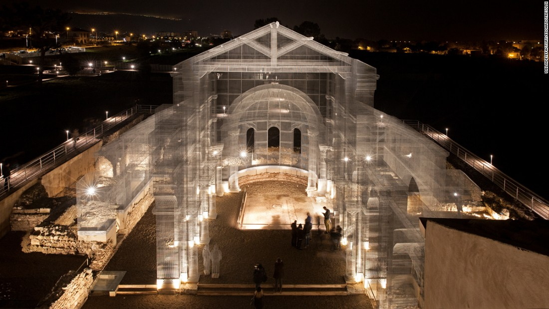 "No, you're not seeing a ghost. Edoardo Tresoldi's <a href=""http://edition.cnn.com/2016/04/18/arts/wire-ghost-church-edoardo-tresoldi/"">reconstruction of a destroyed basilica</a> in Puglia, Italy was made of wire and mesh."