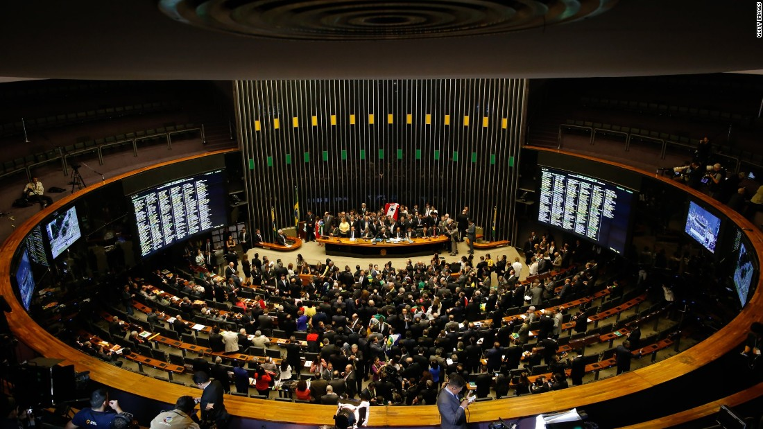 The impeachment motion will next go to the country's Senate. If a majority approves it, Rousseff will have to step down for 180 days to defend herself in an impeachment trial.