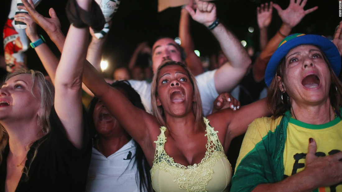 Pro-impeachment supporters celebrate after politicians vote to approve the motion to impeach Rousseff. The motion will now be brought before the Senate, the Brazilian congress' upper house.