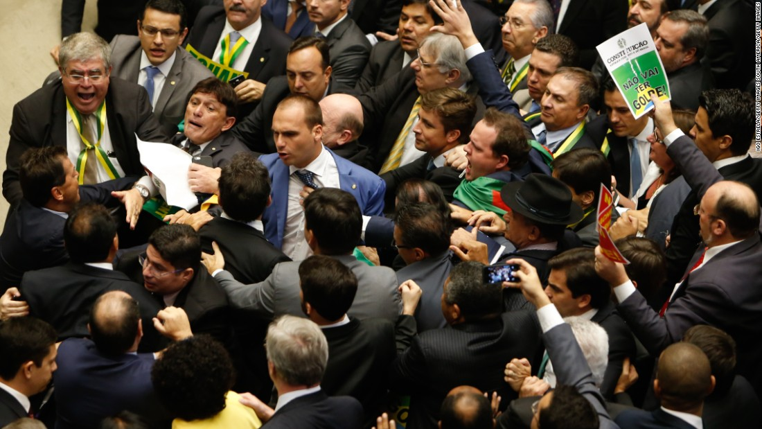 Brazilian lawmakers shouted, scuffled and even sang as they debated whether to impeach President Dilma Rousseff on Sunday. Over a period of six hours they eventually voted 367-137 to impeach the president.