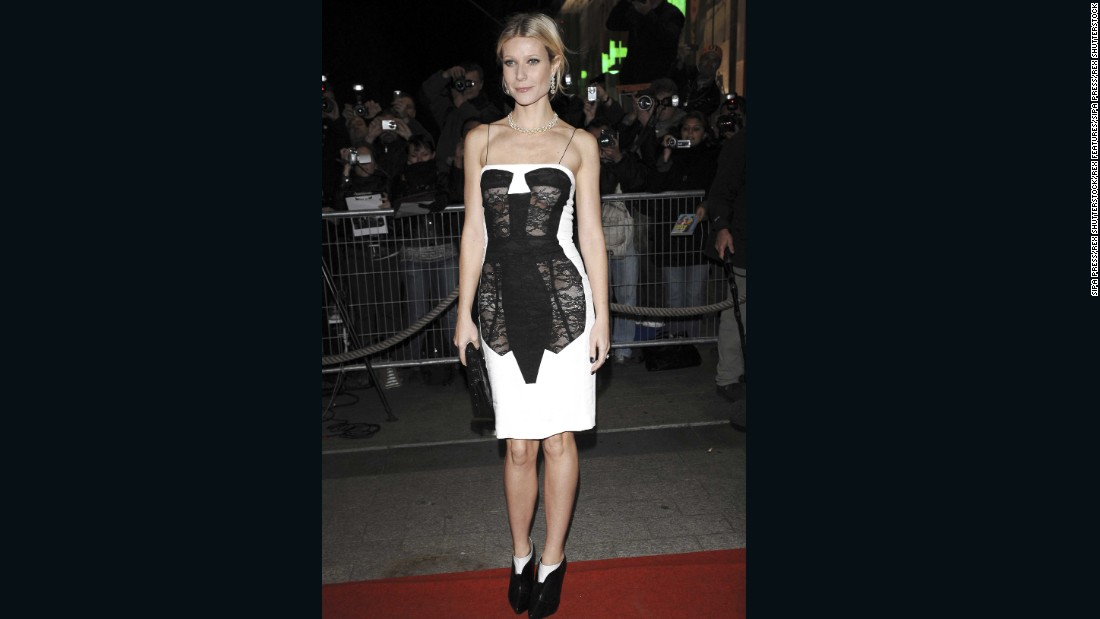 Trompe l'oeil corset dress, designed by Antonio Berardi, SS09, Worn by Gwyneth Paltrow at 'Two Lovers' film premiere, 2008