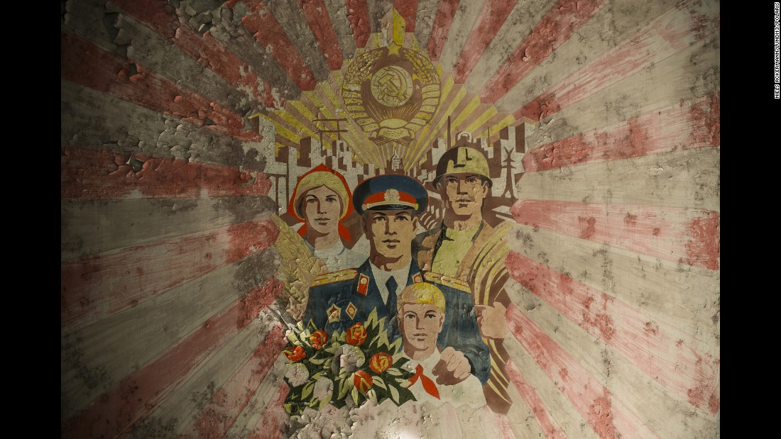 A mural in an empty school in the abandoned Ukrainian town of Pripyat.