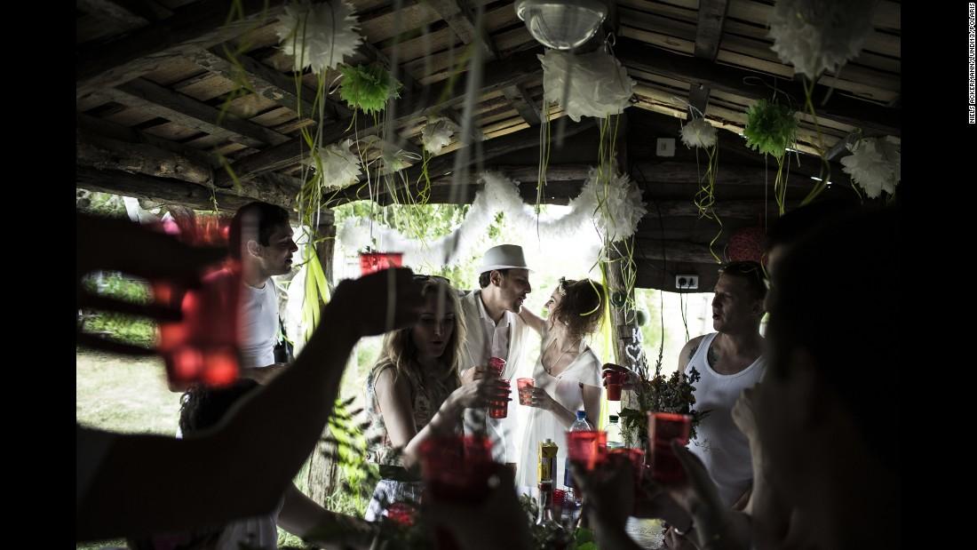 Zhenya and Yulia celebrate their marriage in June 2013.