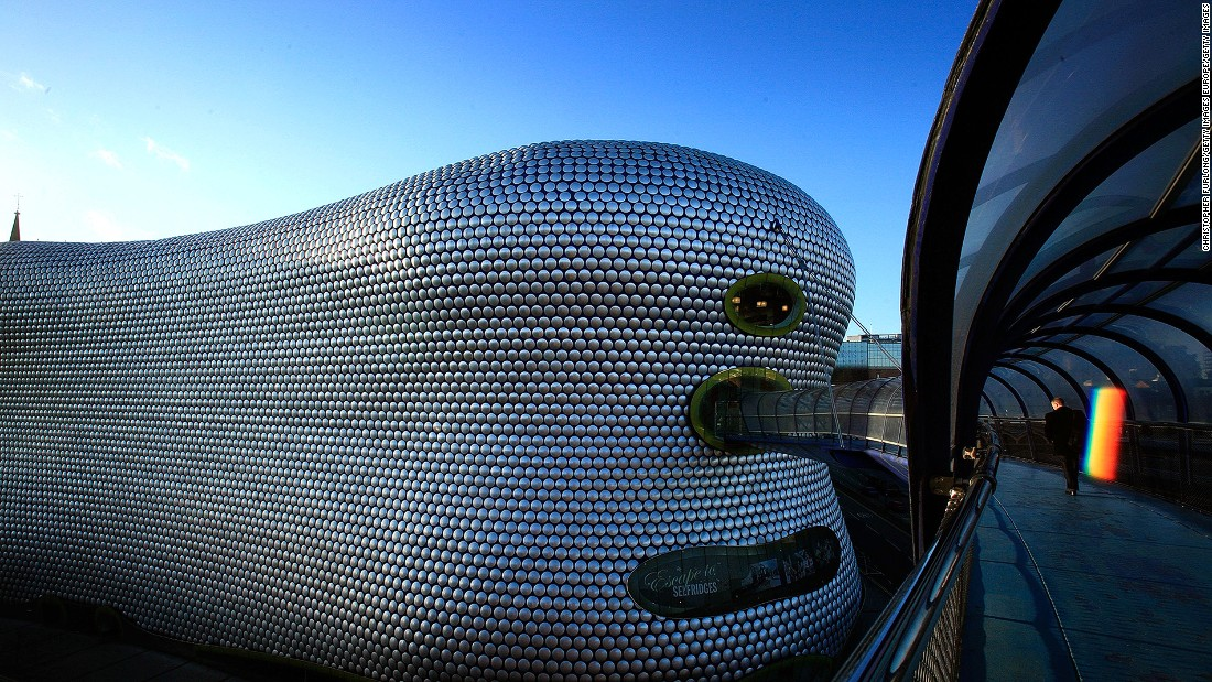 The futuristic landmark Selfridges store in Birmingham  dominates the skylines.
