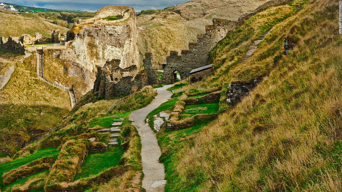 "Legend says <a href=""http://www.english-heritage.org.uk/visit/places/tintagel-castle/"" target=""_blank"">Tintagel Castle</a>, a medieval structure on a rugged coastline of North Cornwall, is the birthplace of King Arthur. Below the castle is Tintagel Beach with emerald water and Merlin's Cave, a hiding place for infant Arthur in poet Alfred Lord Tennyson's ""Idylls of the King."""