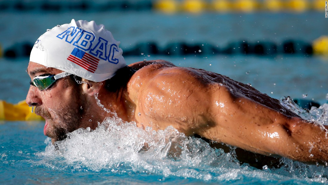 Michael Phelps competes in the 200-meter butterfly final at the Arena Pro Swim Series swim meet in Mesa, Arizona, on Friday, April 15.