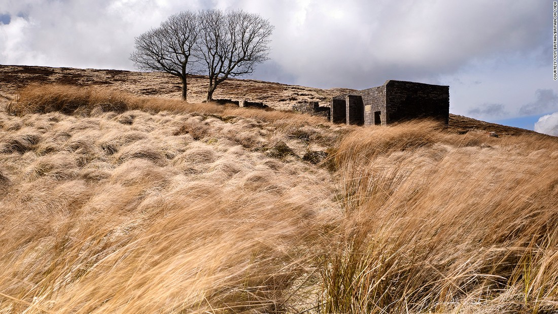 "Top Withins (pictured here) is a ruined site on Haworth Moor. It's said that the wild moorland inspired Emily Bronte's ""Wuthering Heights"" when the Bronte sisters lived here."