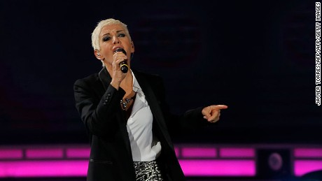 Spanish singer Ana Torroja performs during at the 57th of the Vina del Mar song festival in Vina del Mar, Chile, on February 23, 2016.   / AFP / JAVIER TORRES        (Photo credit should read JAVIER TORRES/AFP/Getty Images)