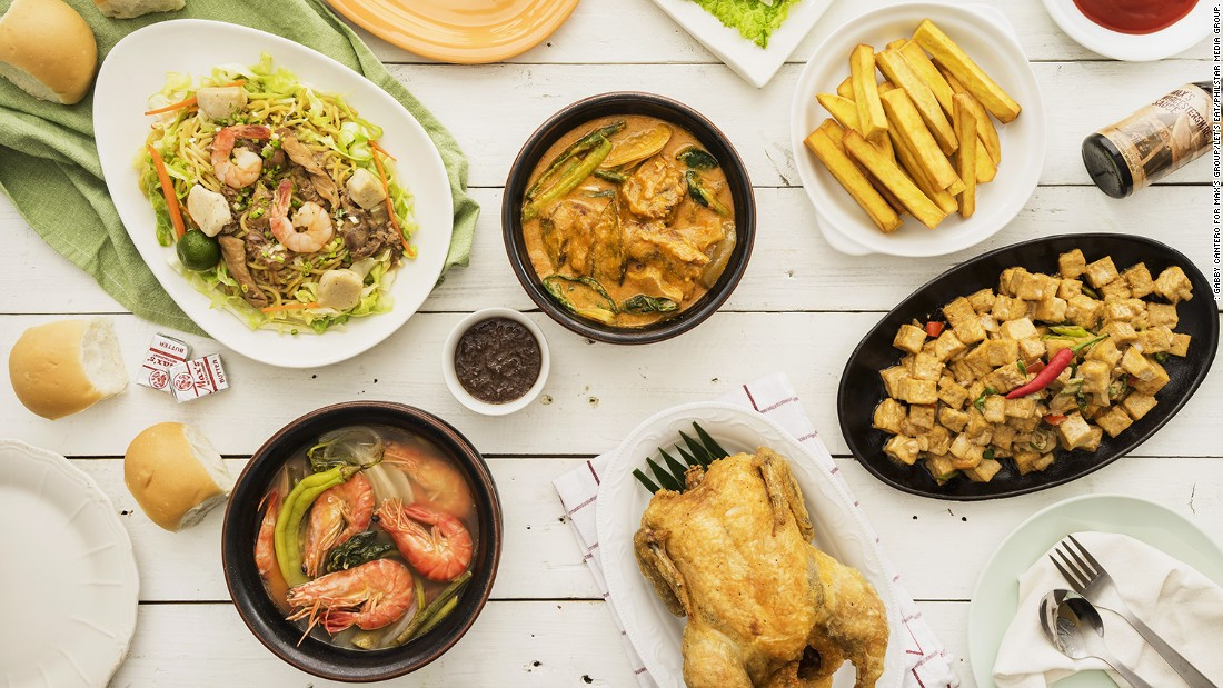 Max's fried chicken has long been a staple of Filipino family celebrations, along with other homegrown favorites such as (clockwise from top) lumpiang ubod, tokwa't baboy, sinigang na hipon, pancit, and kare-kare.