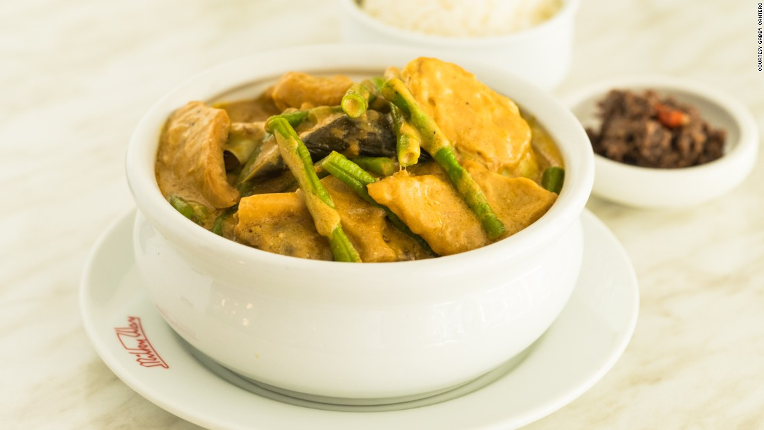 Kare-kare's sauce is reminiscent of a mild satay. This classic stew is best paired with a steamy mound of rice and finished off with a dollop of shrimp paste (bagoong).
