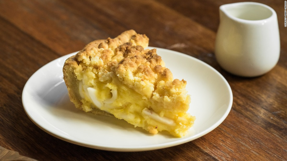 Wildflour's buko pie is heftier than traditional slices. Its layered crust opens up to a thick bed of coconut flesh.
