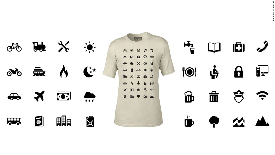Nearly 40 symbols can aid conversations about travel basics such as hotels, transport, food, beer and Wi-Fi.