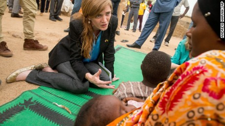 U.S. diplomat Samantha Power meets a family who fled Boko Haram.