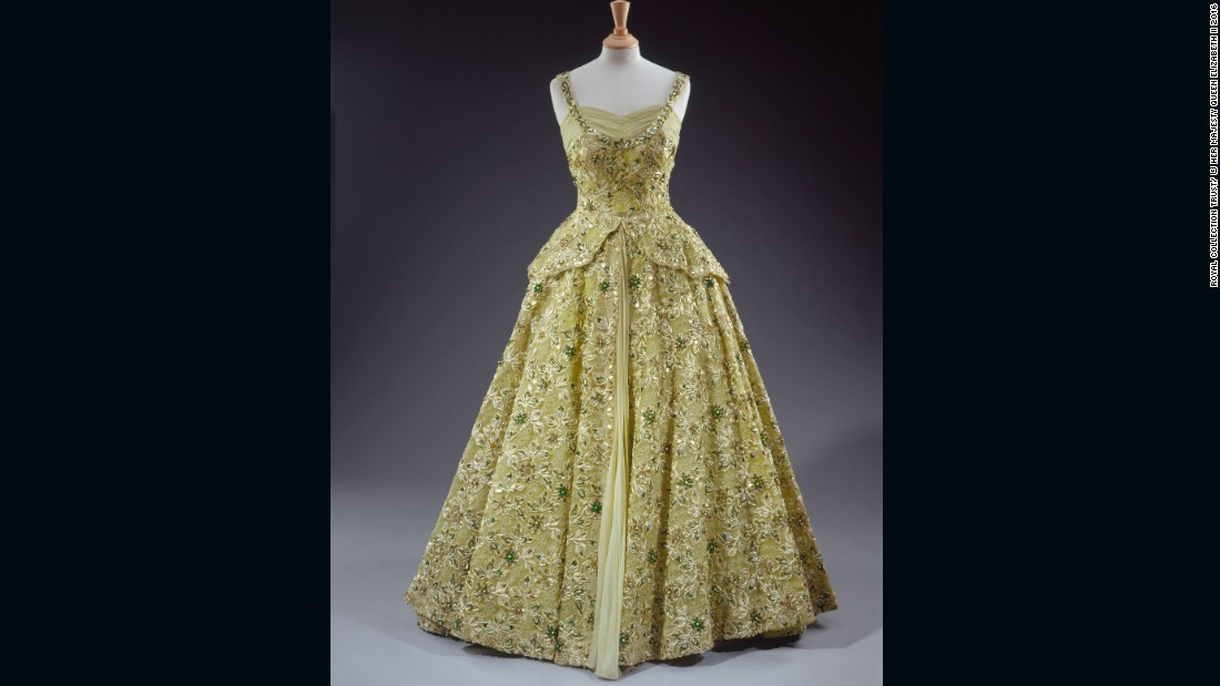 Evening gown embroidered with sequins, pearls, beads and diamante by Norman Hartnell, worn on a visit to the United States of America as a guest of President Eisenhower.