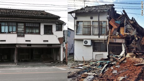 This photo shows the same house damaged but still standing after Thursday's quake (left) and its collapse after Saturday's shock hit (right).