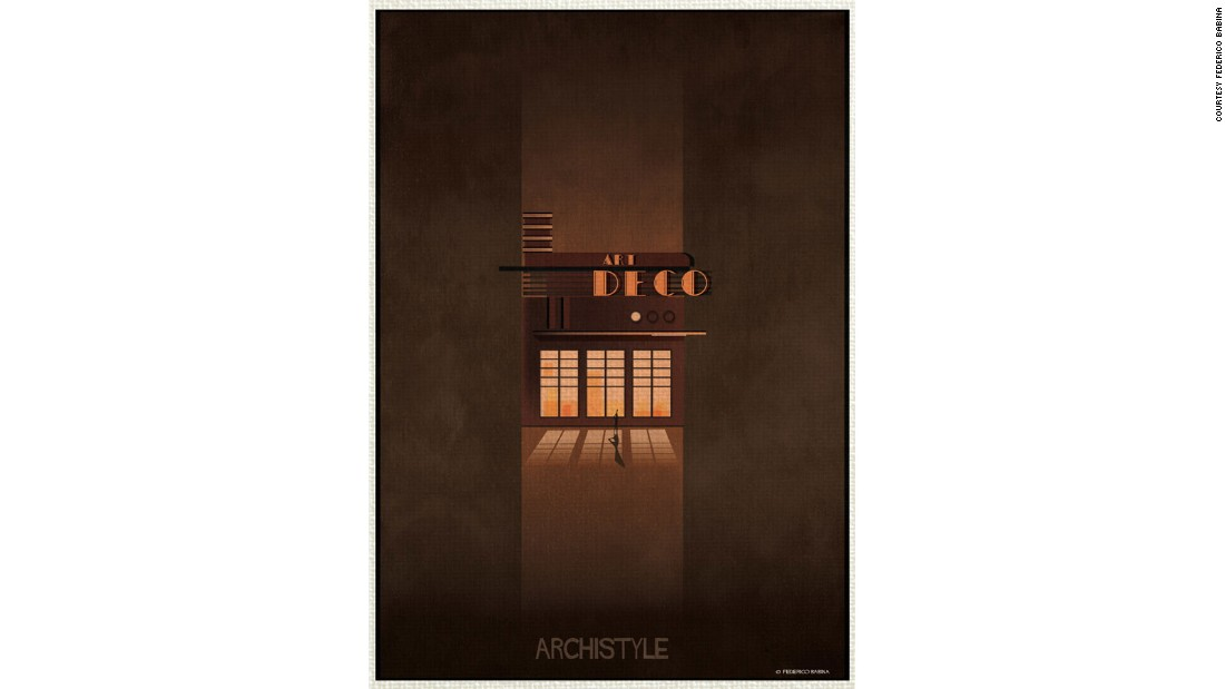 Artist Federico Babina uses illustrations to depict different architectural styles.