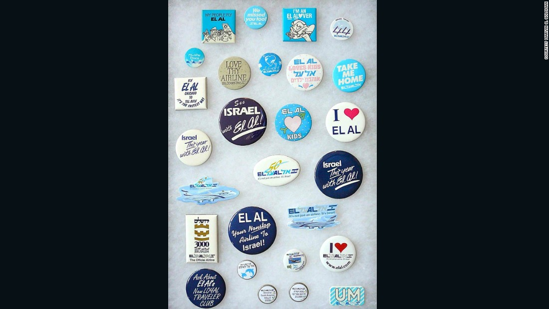 Goldman has a large collection of airline badges.