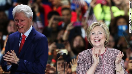 Hillary Clinton walks on stage with her husband Bill Clinton after winning the New York Democratic primary on April 19, 2016 in New York City.
