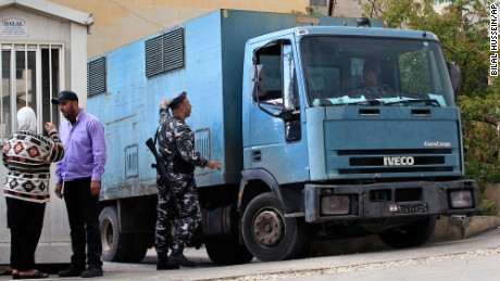 A police van transports Australian suspects Sally Faulkner and Tara Brown to a prison in a Beirut suburb.