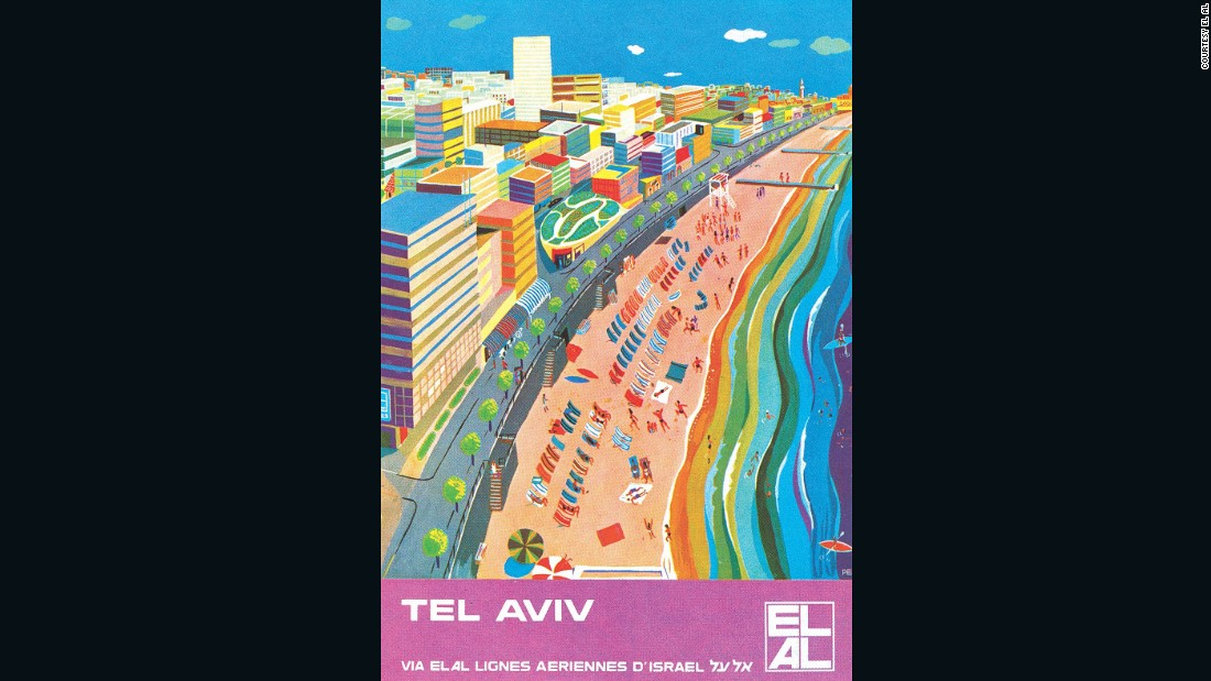 Goldman is particularly fond of the carrier's posters, which were often designed by famous artists. This poster depicting Tel Aviv was designed by landscape painter Peri Rosenfeld.