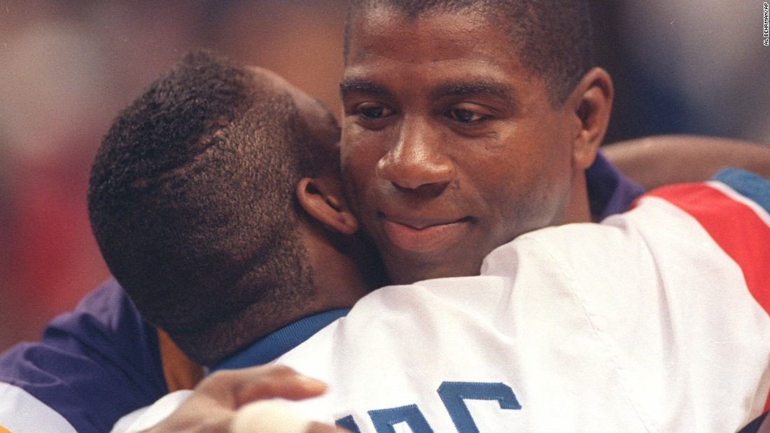 "Magic Johnson, seen here hugging guard Isiah Thomas before the 42nd All Star Game at Orlando Arena in 1992, announced November 7, 1991, that he was retiring from the NBA  at age 32 after contracting HIV. That 1992 All-Star Game was the first game of the season for Johnson after his retirement. He also was part of the 1992 ""Dream Team"" that won gold in the Summer Olympics in Barcelona. Johnson briefly returned to the NBA during the 1996 season but retired permanently after that, at age 36."