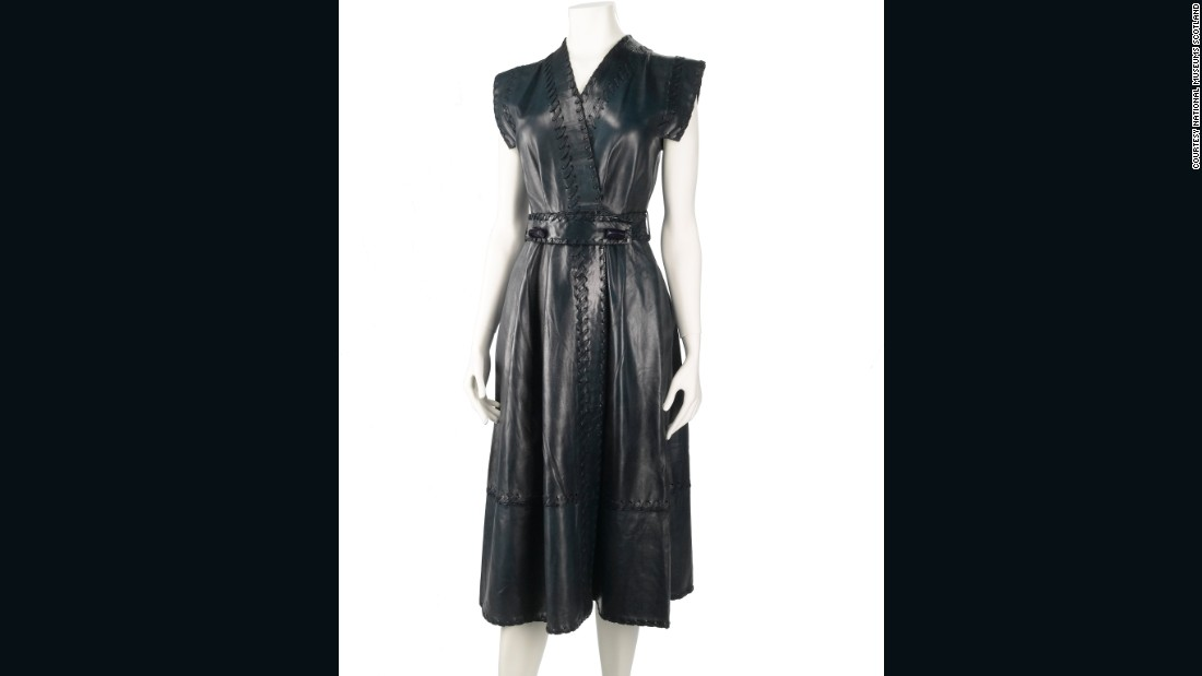 The internationally successful British fashion designer Jean Muir created couture-quality ready-to-wear designs. With her superlative cutting and use of luxurious fabrics, Muir excelled in making technically complex designs that appeared simple, such as this butter-soft nappa leather dress. <br /><br />In 2005, National Museums Scotland was fortunate to acquire her archive of an estimated 18,000 items. This piece is a favourite of mine as it is typical of the timeless, feminine designs that made her popular with so many high-profile clients, including her former house model Joanna Lumley.