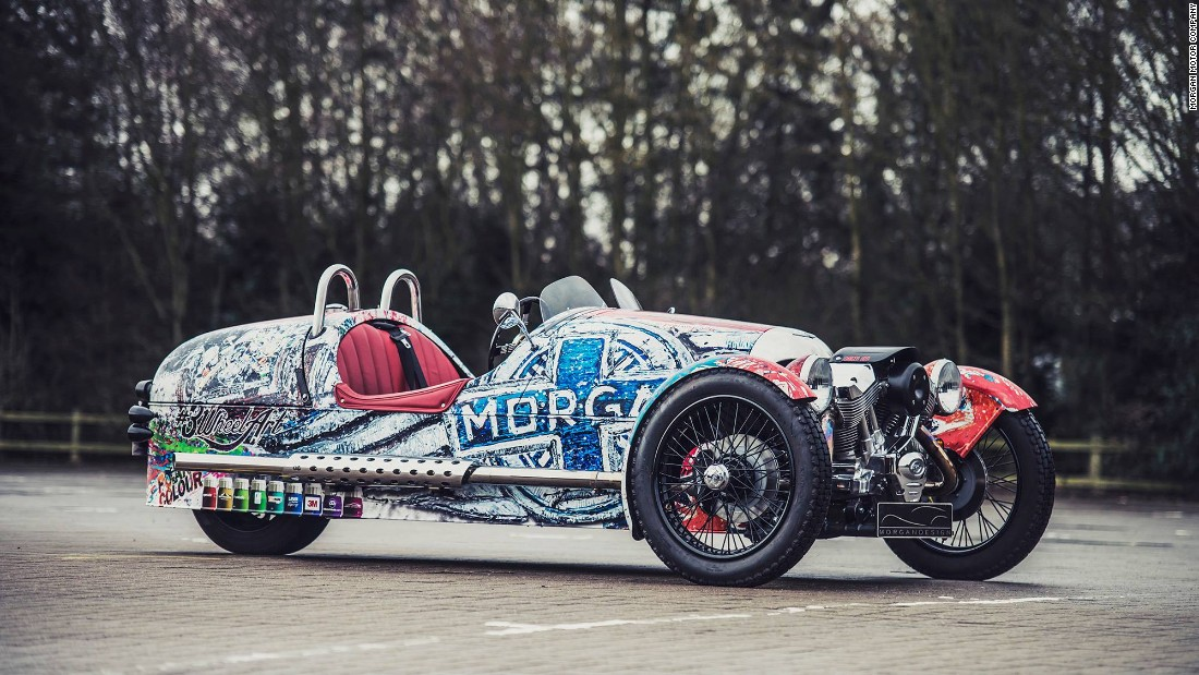 "British artist Ian Cook (aka PopbangColour) gave Morgan's retro classic 3-wheeler a unique makeover in 2015. He describes his work as a ""friendly explosion of color""."