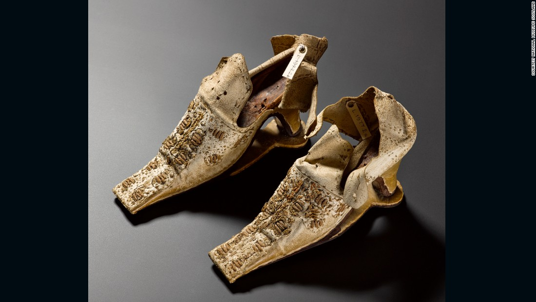 These shoes were once thought to have belonged to Mary Queen of Scots, although they have since been dated to nearly a century later.  The slap sole was initially used on men's shoes to prevent their heels sinking into the mud; women's shoemakers caught on and they were adopted as a fashion accessory in the second half of the century. <br /><br />The distinctive clacking sound they made (the sole was only attached to the ball of the foot and not the heel) was associated with wealth and sophistication.