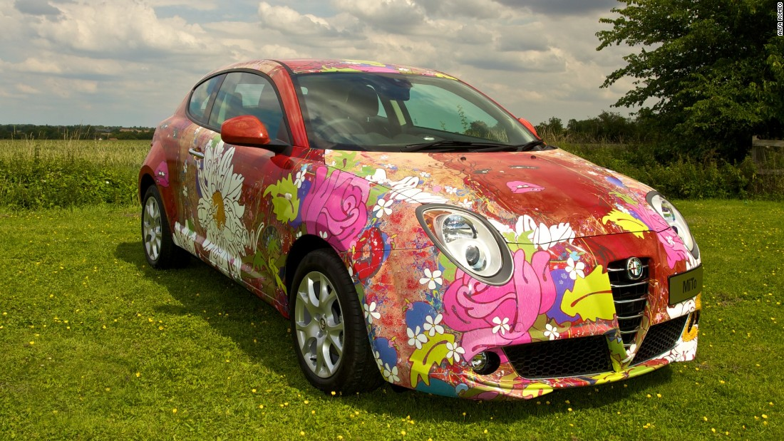 Pretty in pink: In 2011, artist Louise Dear was commissioned by Alfa Romeo to create this special car to celebrate the launch of the new eco-friendly Alfa Romeo MiTo 1.3 JTDM-2.