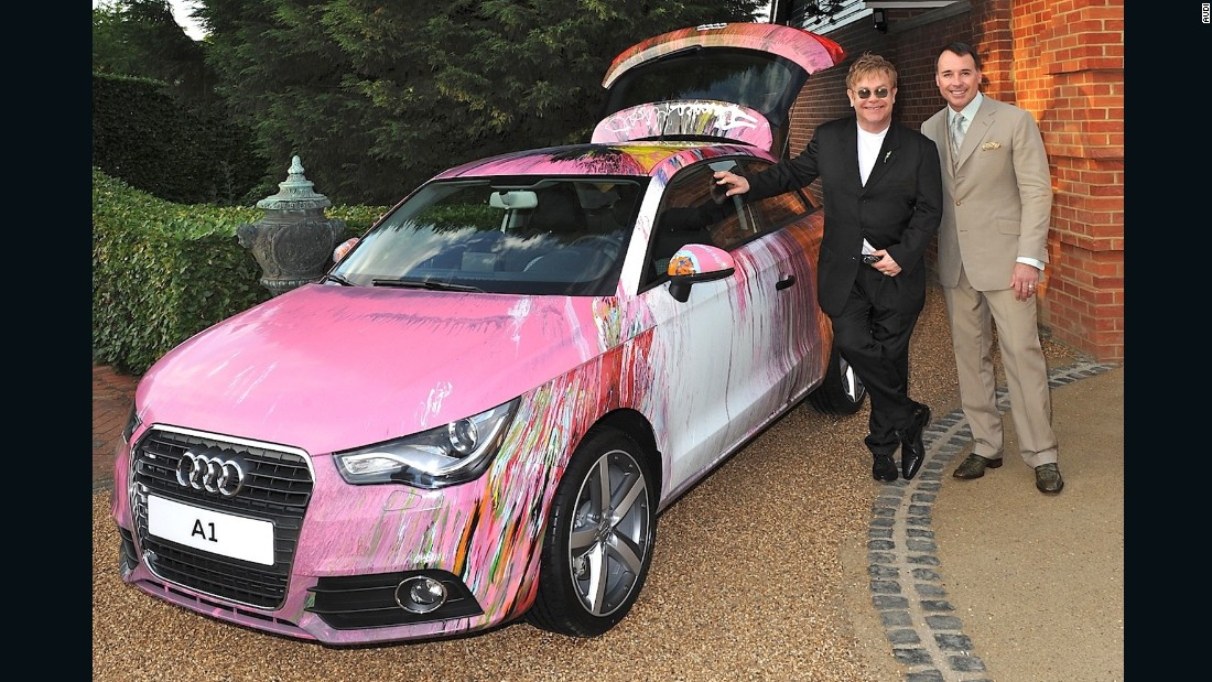 Damien Hirst's spin painted Audi A1 raised £350,000 (over $500,000) in a charity auction held by Elton John in 2010.
