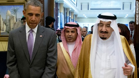 President Barack Obama and Saudi King Salman walk to a April 20 meeting in Riyadh.