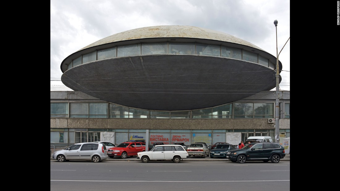 "Grospierre manages to sandwich obscure, UFO-shaped buildings such as the Institute of Scientific Research and Development in Kiev, between builds in Iran and Poland. The authors suggests imposing works such as the Institute must toe a certain line with their surrounding, saying ""it's a question of weight [and] of the visual impact the work produces."""