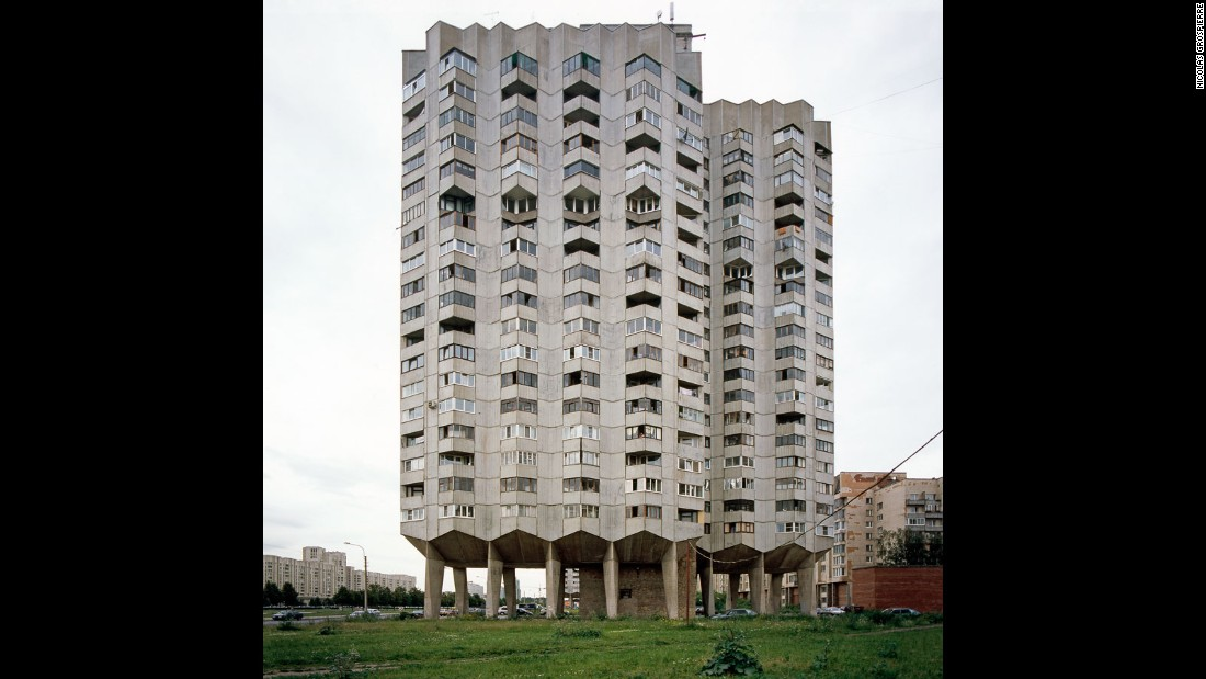 "Warsaw resident Grospierre sourced many of his 200 Modernist buildings in Poland and the former Eastern Bloc. Many of the Brutalist works that feature were ""large-scale housing estates done very cheaply,"" he says, a factor that has contributed to their poor condition today."