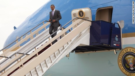 President Barack Obama arrives on Air Force One at King Khalid International Airport in Riyadh, Saudi Arabia, Wednesday, April 20.