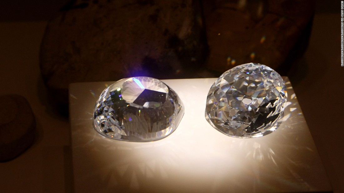 Cubic zirconia replicas of the original and a modern cut of the Kohinoor diamond, one of the oldest and most famous diamonds in the world.<br />