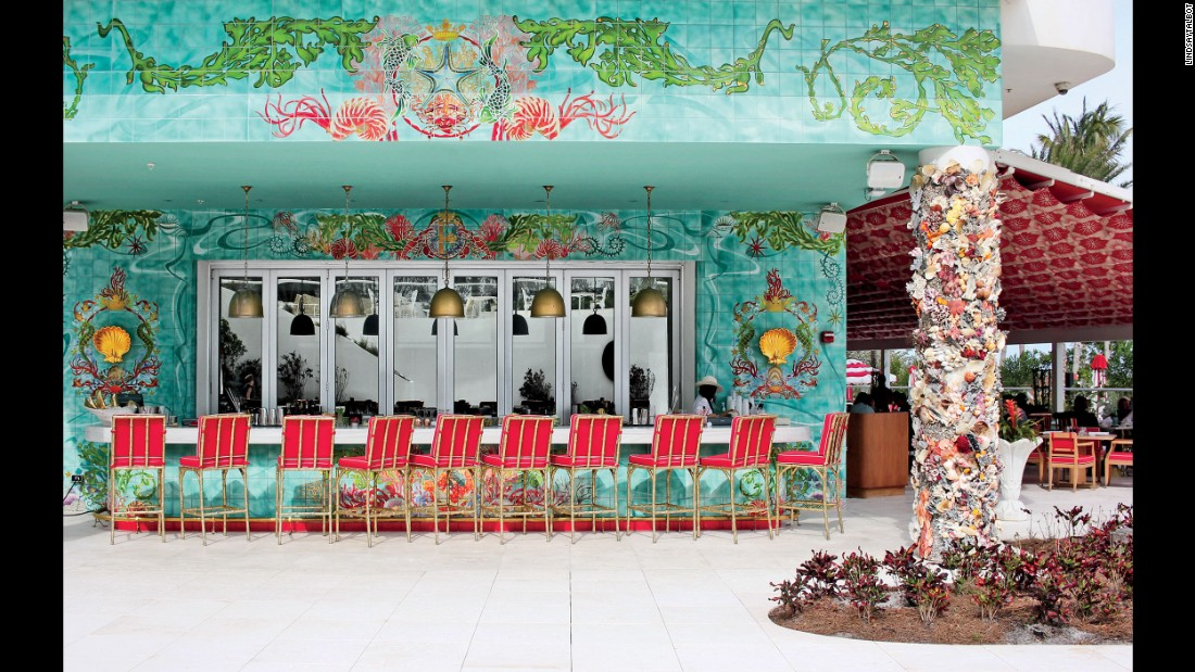 The beachfront Faena Hotel Miami Beach kept the facade of the circa 1948 Saxony Hotel but turned the inside into an ode to modernism.