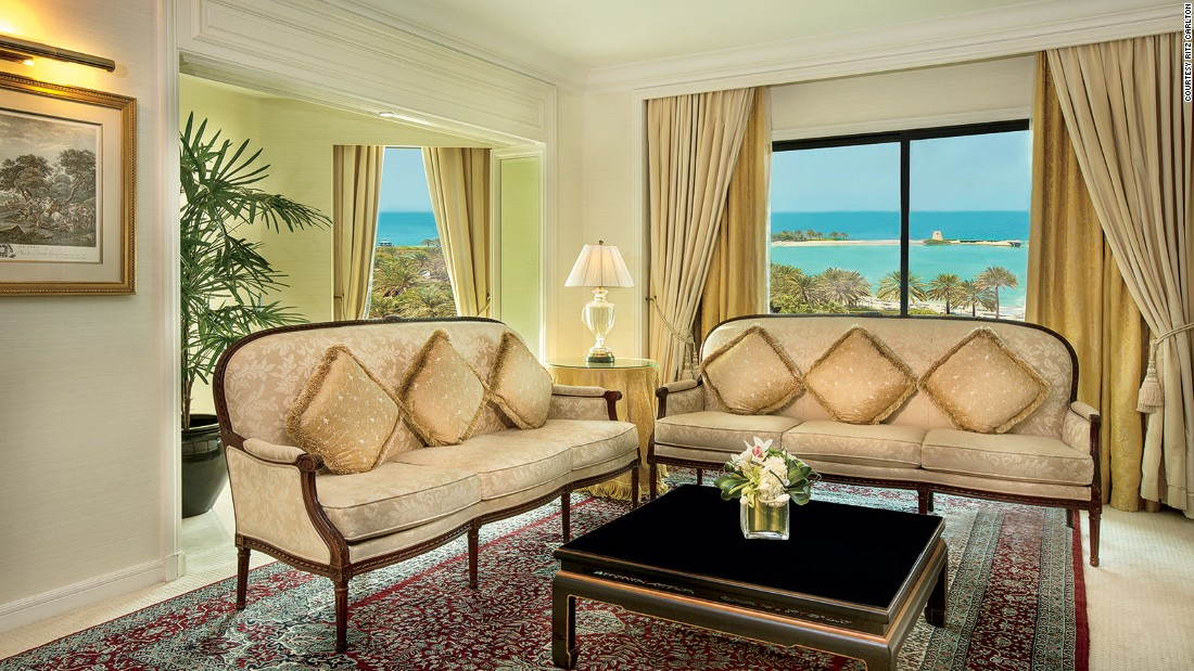 The $3,450-a-night Royal Suite comes with a dining room that seats eight, three LED TVs, a master bedroom, two bathrooms, a Jacuzzi and a large majlis communal seating area.