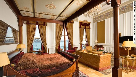 The Sultan Suite overlooks the Bosphorus.