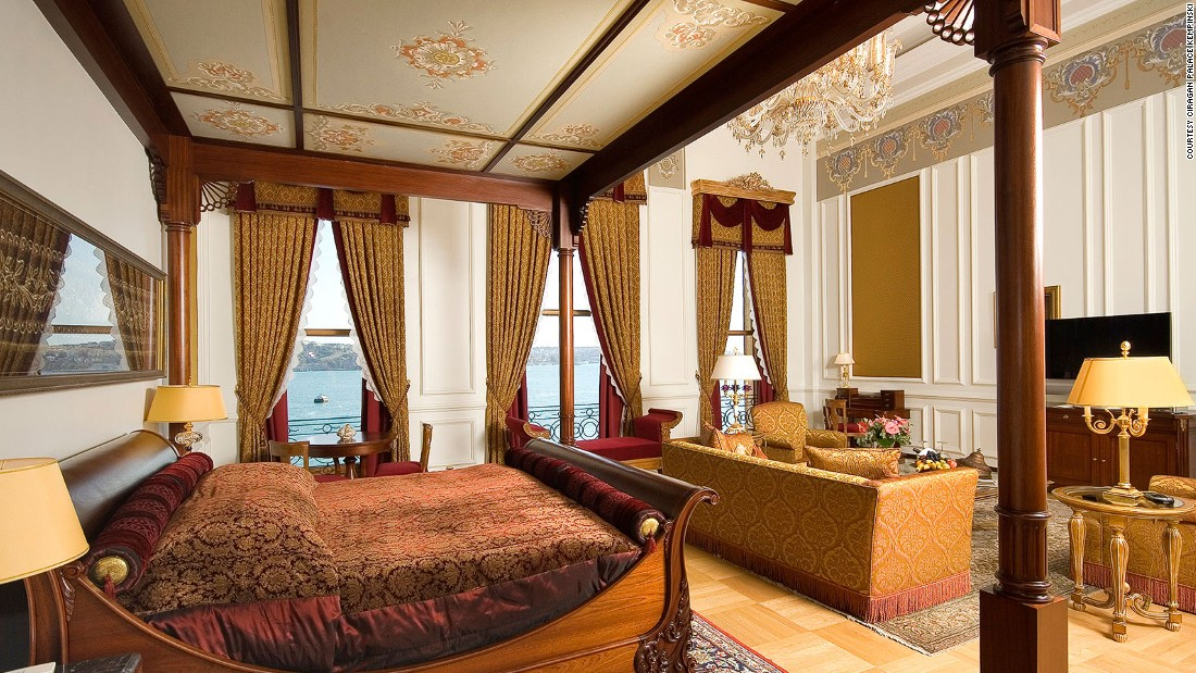 The suite, which can go for $35,000 a night, is furnished with 19th-century antiques that once graced a real sultan's home.