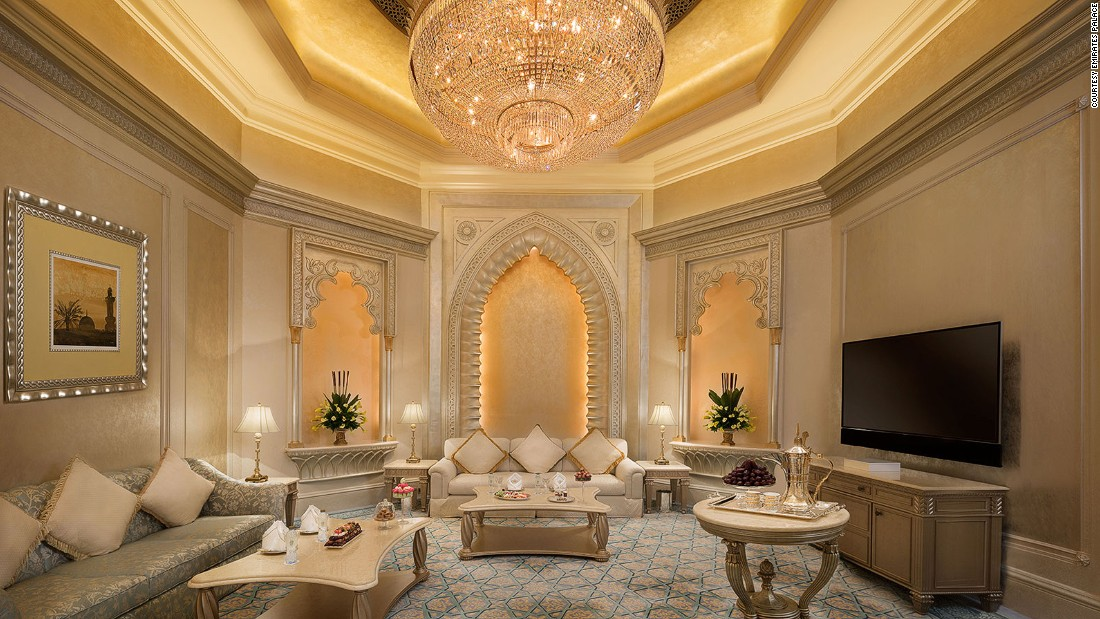 "The 7,500-square-foot <a href=""https://www.kempinski.com/en/abudhabi/emirates-palace/rooms-and-suites/suites/palace-suite/"" target=""_blank"">Palace Suite</a> comes with three bedrooms and is billed as a ""palace within a palace."""