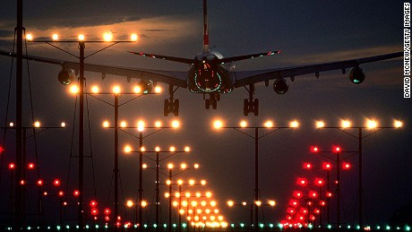 LOS ANGELES, CA: A jet lands at Los Angeles International Airport (LAX).