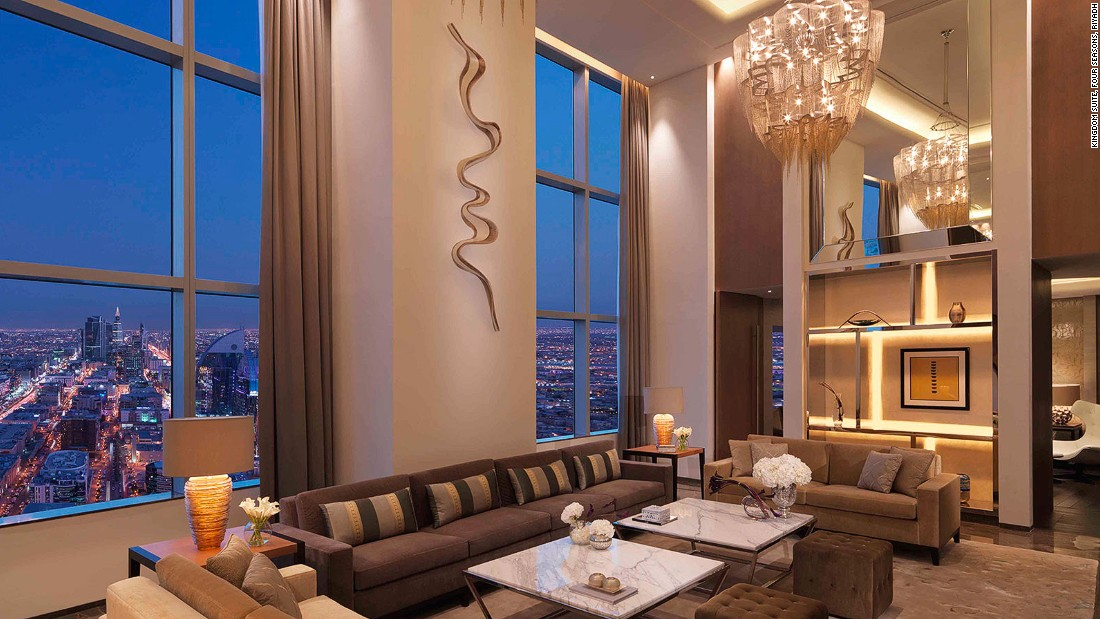"The Saudi capital is home to the regal Kingdom Suite at the <a href=""http://www.fourseasons.com/riyadh/accommodations/suites/kingdom_suite/"" target=""_blank"">Four Seasons Hotel Riyadh</a>. Available for $10,666 a night."