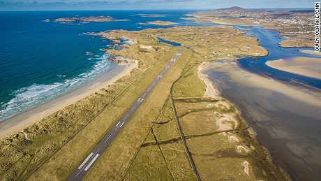 In Ireland, the Donegal Airport approach flies over Carrickfinn beach and majestic Mount Errigal.
