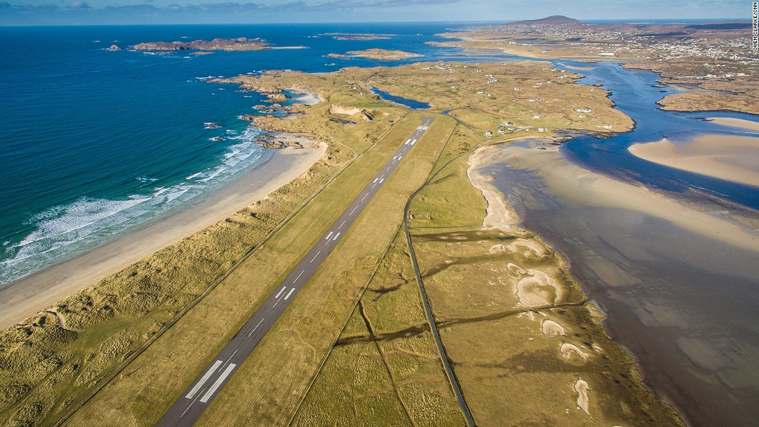 "<strong>2. Donegal Airport (Ireland): </strong>""You arrive in the Emerald Isle adjacent to one of the most beautiful beaches in the world, Carrickfinn, with a backdrop of the majestic Mount Errigal on one side and an array of craggy islands on the other."" That's one PrivateFly user's enthusiastic verdict on this airport on Ireland's Atlantic coast."
