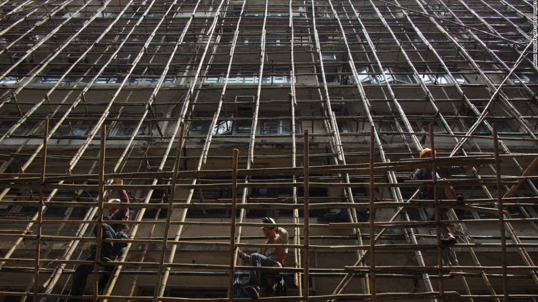 But in Hong Kong, bamboo scaffolding is considered to be a strong and reliable material. It is passed down to the next generation at bamboo scaffolding schools run by Hong Kong's Construction Industry Council.