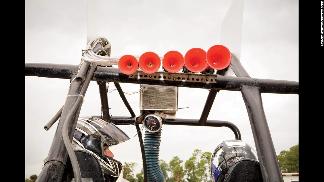 These swamp buggies, part dragster and part boat, are built from scratch and take loads of time and money to create. Competitors can spend nearly $100,000 or more into these custom-created machines.